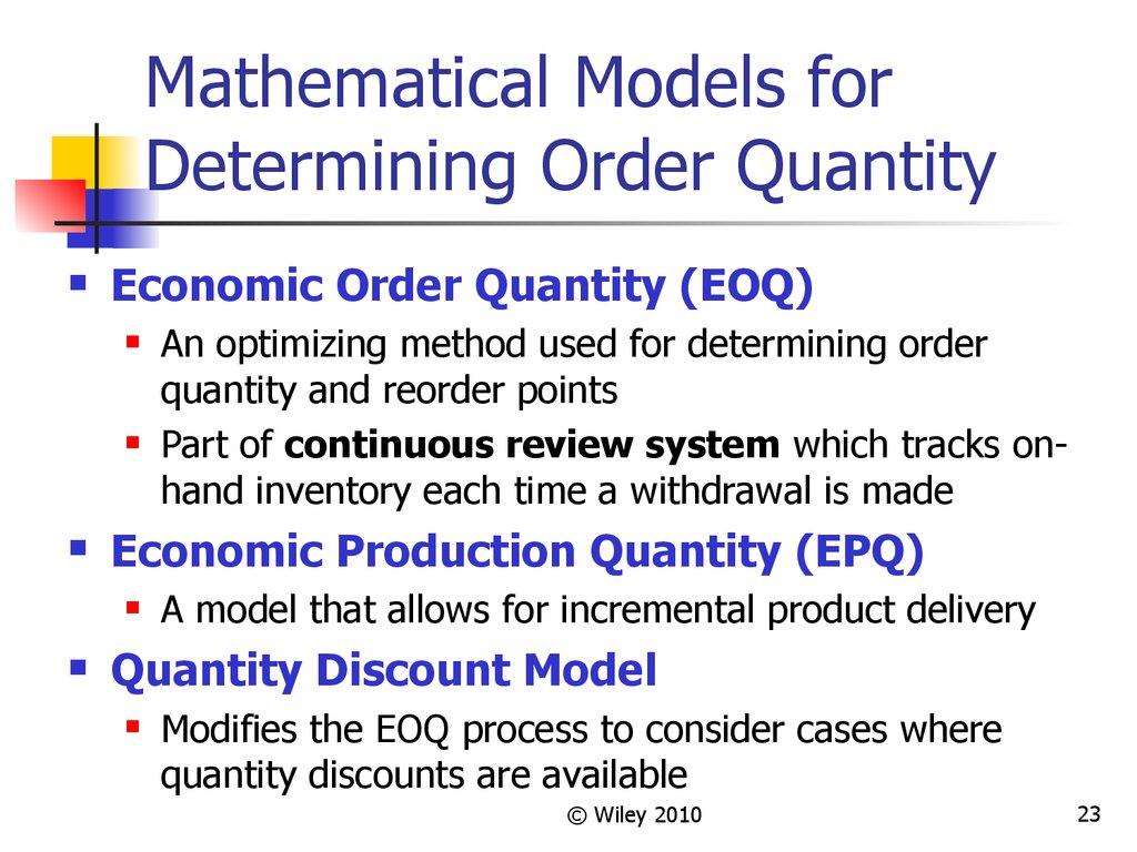 Independent demand inventory management - online presentation