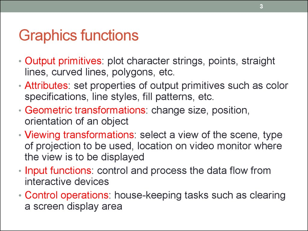 Graphics functions
