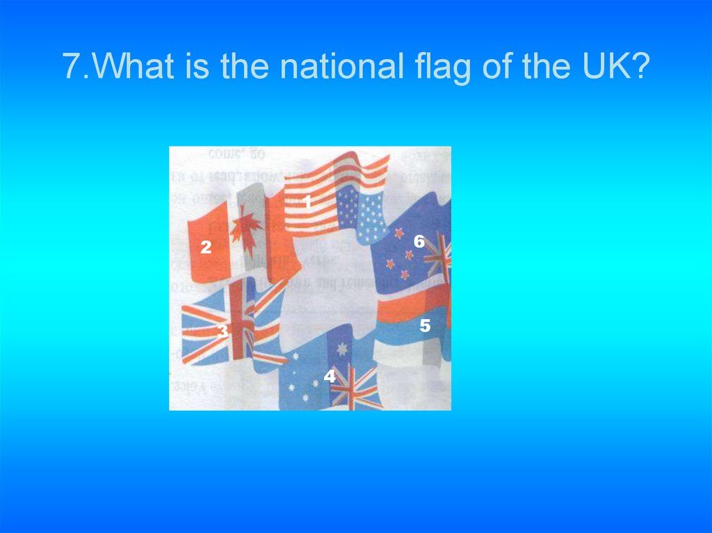 7.What is the national flag of the UK?