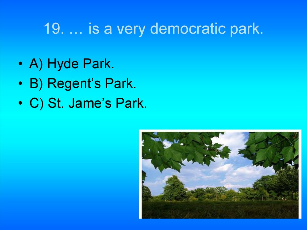 19. … is a very democratic park.