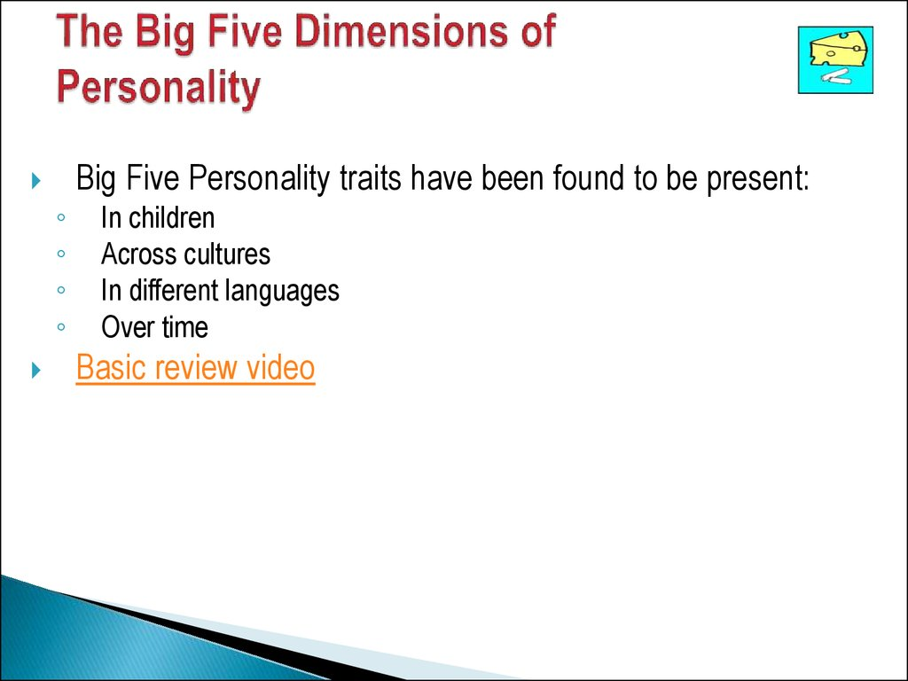 The Big Five Dimensions of Personality