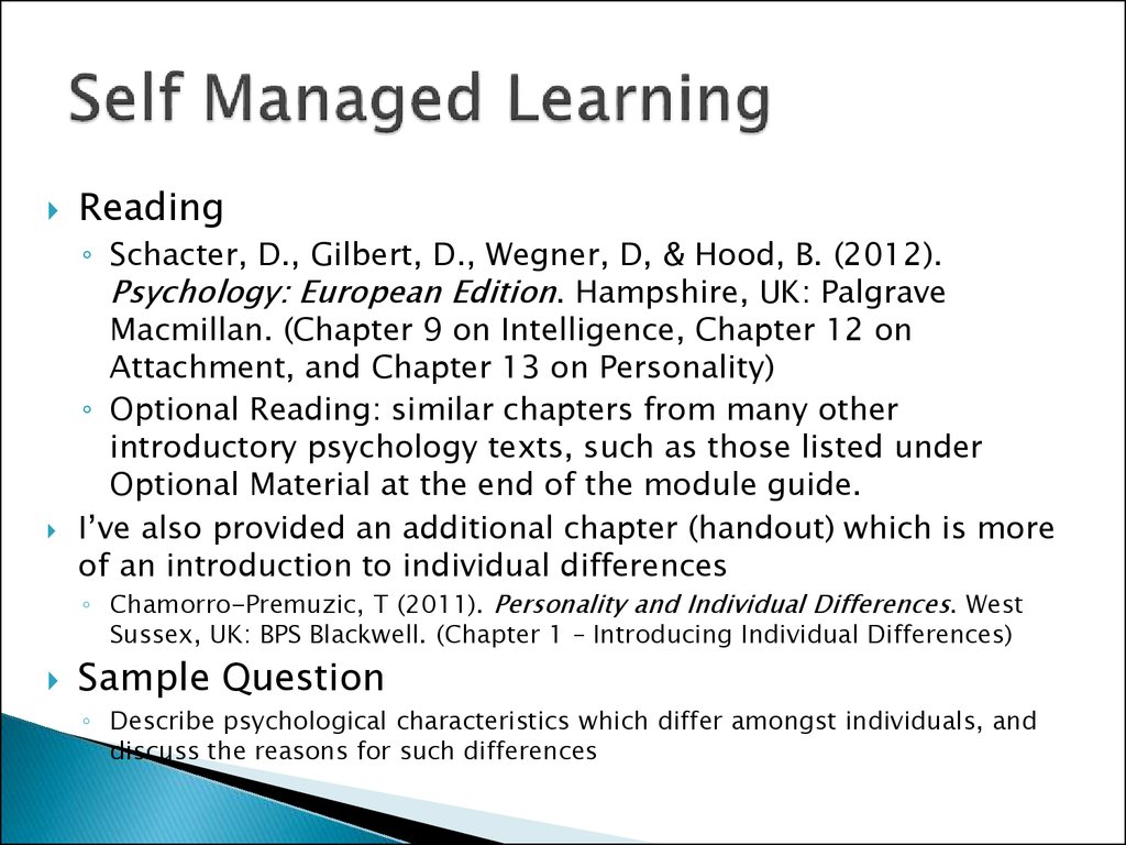 Self Managed Learning