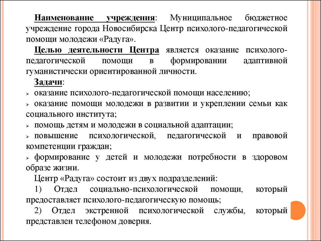 Отчет по учебно ознакомительной практике в МБУ Центр Радуга  3