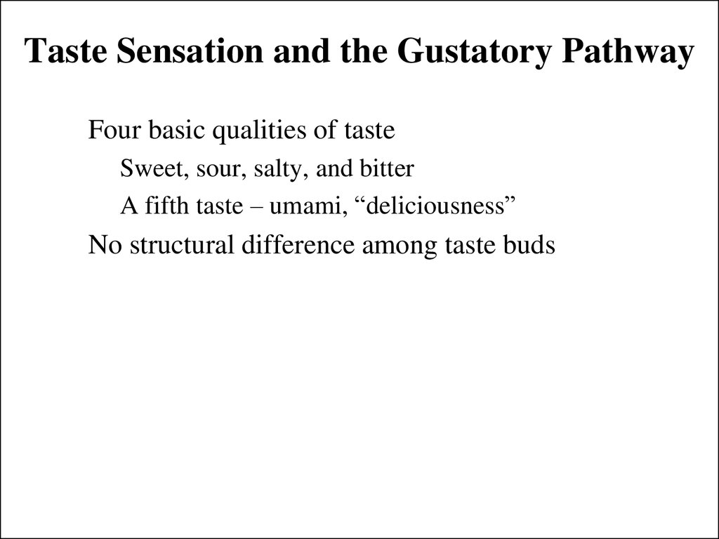 Taste Sensation and the Gustatory Pathway