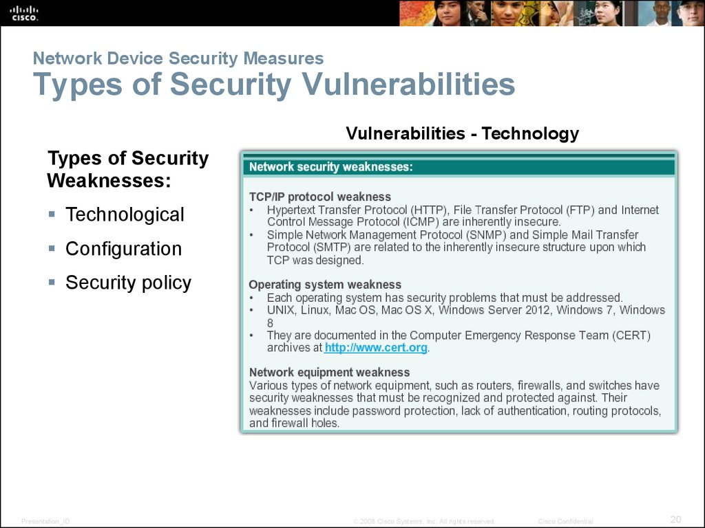 Network Device Security Measures Types of Security Vulnerabilities