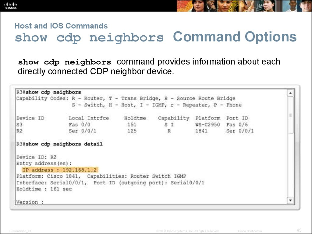 Host and IOS Commands show cdp neighbors Command Options