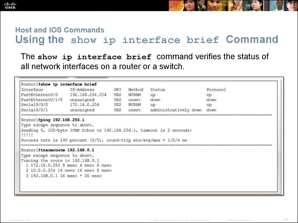 Host and IOS Commands Using the show ip interface brief Command