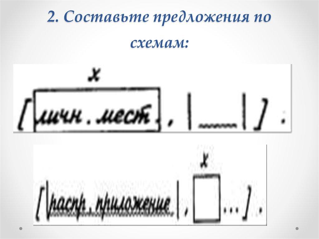 Составьте предложения соответствующие схемам