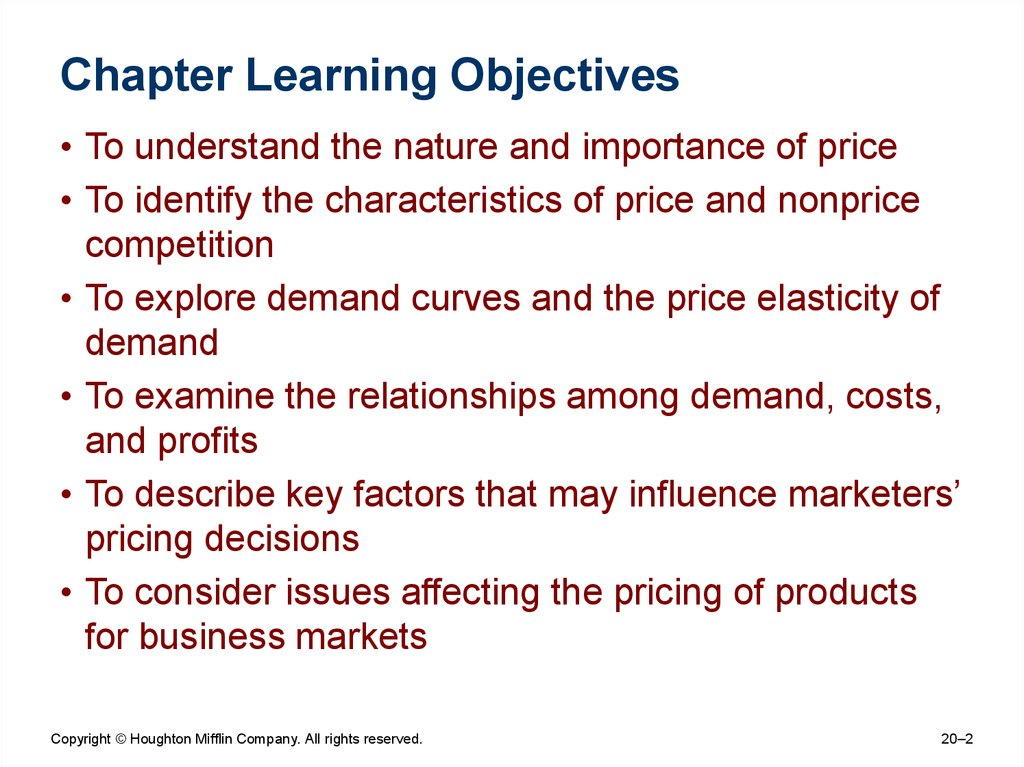 understanding factors affecting price elasticity and how price decisions are made Factors affecting pricing decisions objectives buyers perceptions elasticity costs used when firm believes that price is key factor in consumer decision making process price ceiling is the maximum the consumers will pay for a product need to understand the elasticity of demand.