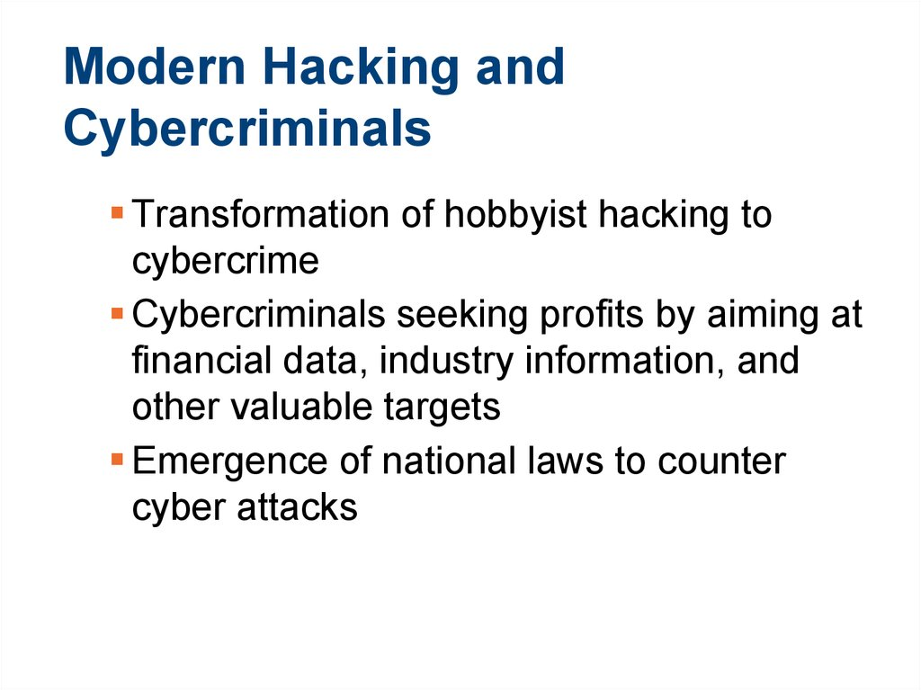 Modern Hacking and Cybercriminals