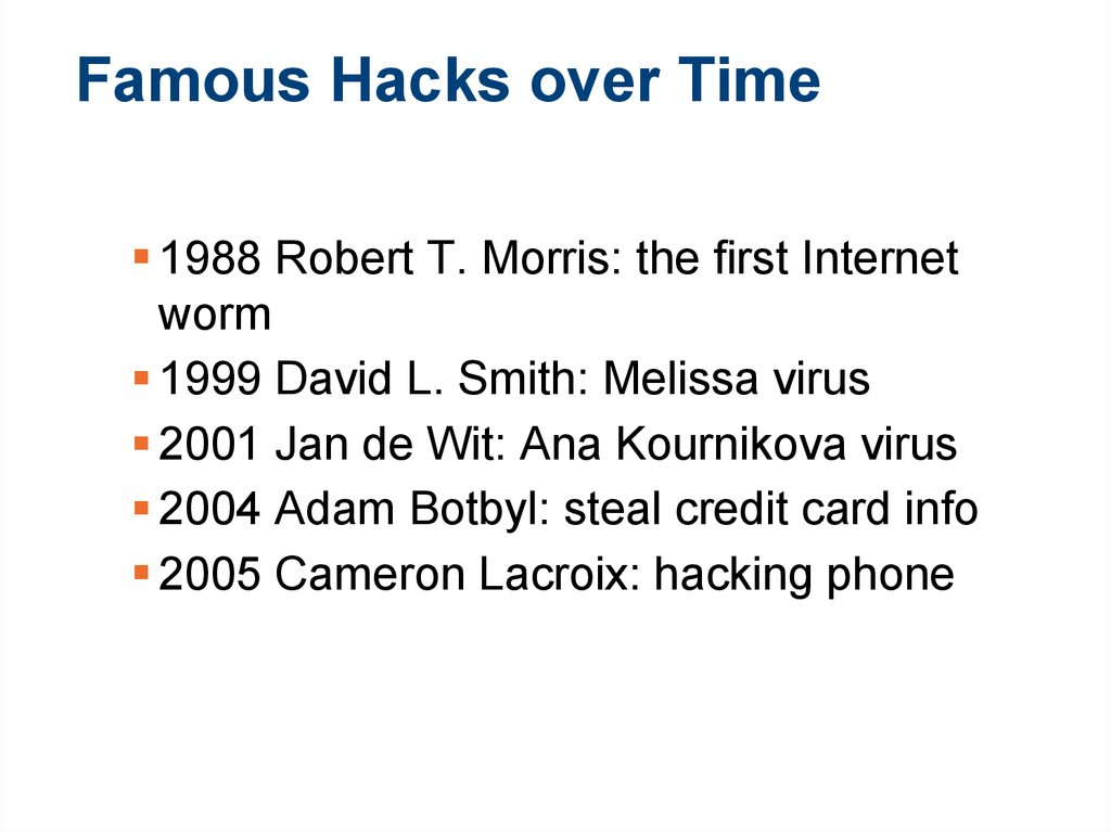 Famous Hacks over Time