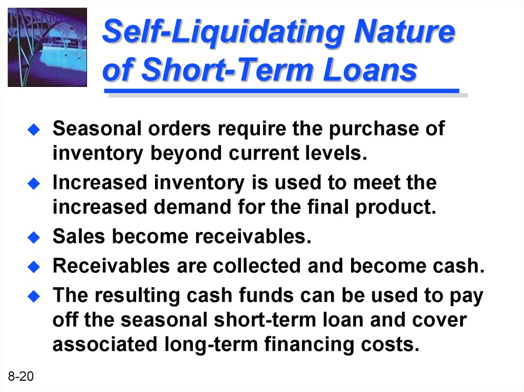Self liquidating loans definition