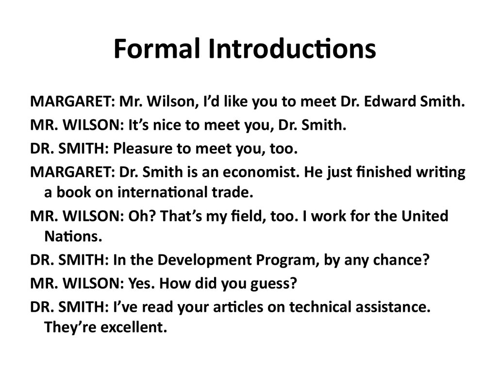 Formal Introductions