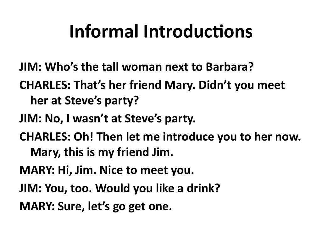 Informal Introductions