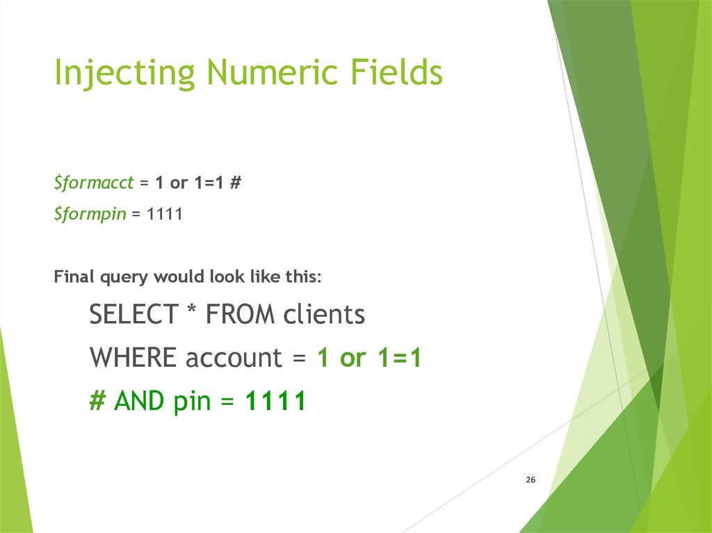 Injecting Numeric Fields