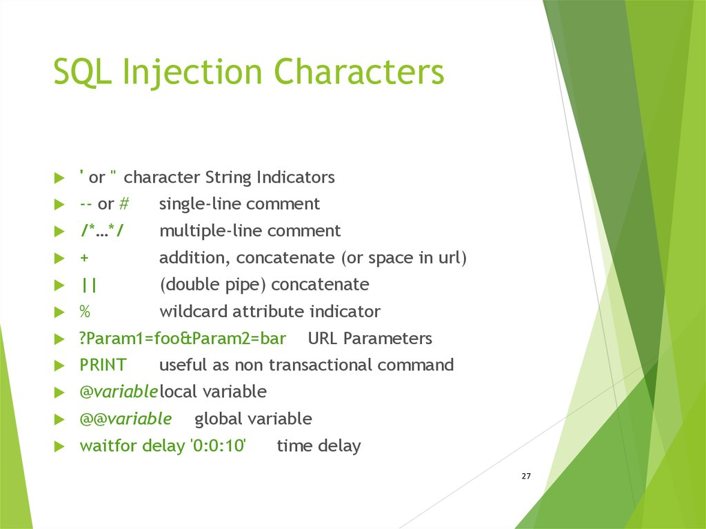 SQL Injection Characters