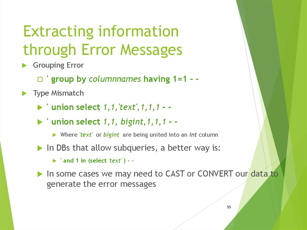 Extracting information through Error Messages