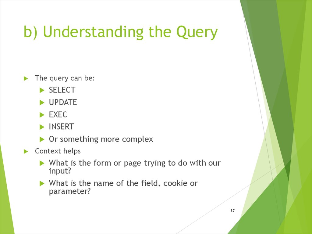 b) Understanding the Query