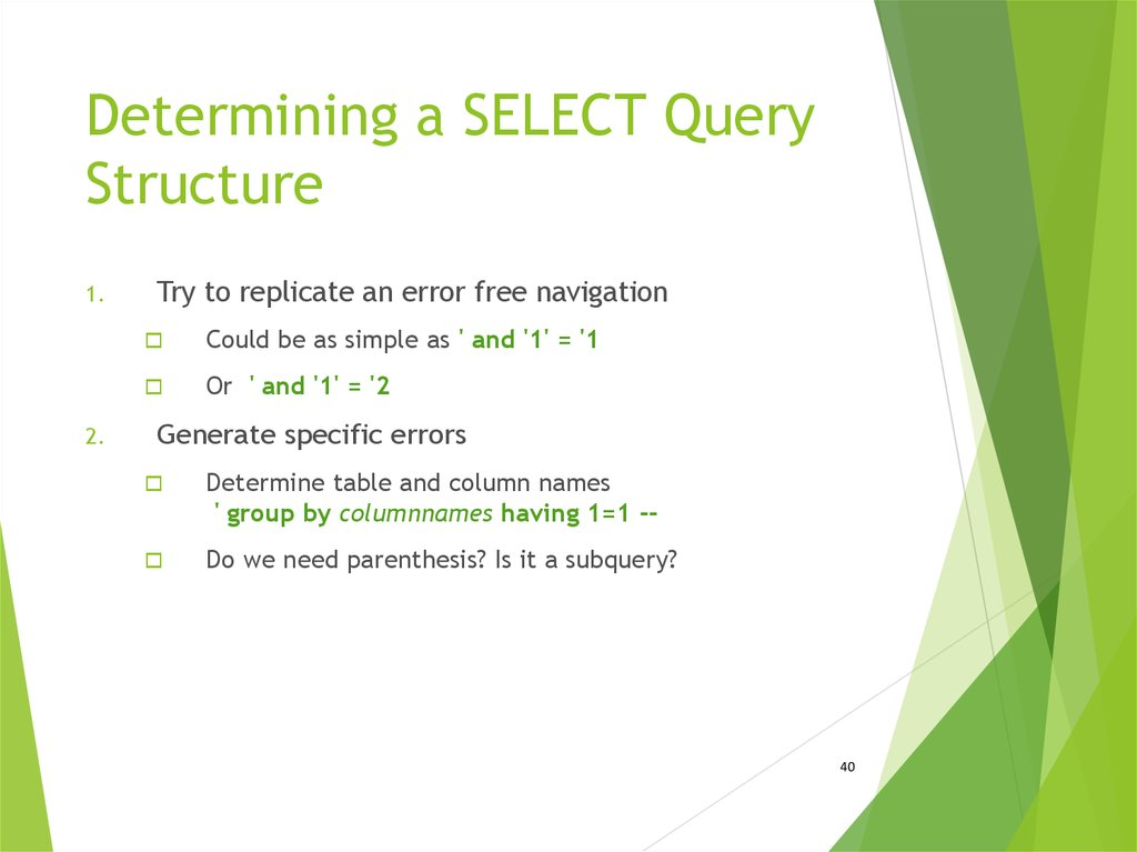Determining a SELECT Query Structure