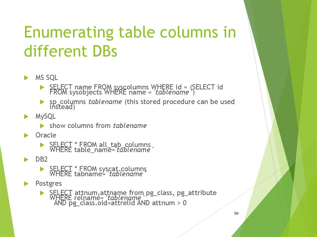 Enumerating table columns in different DBs