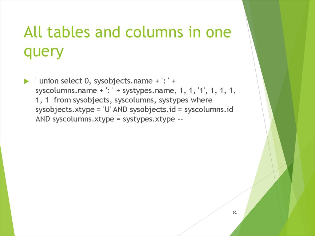 All tables and columns in one query