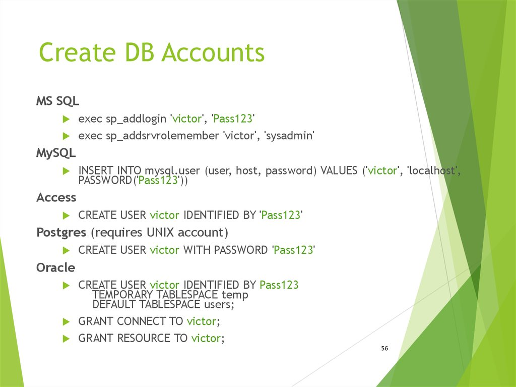 Create DB Accounts