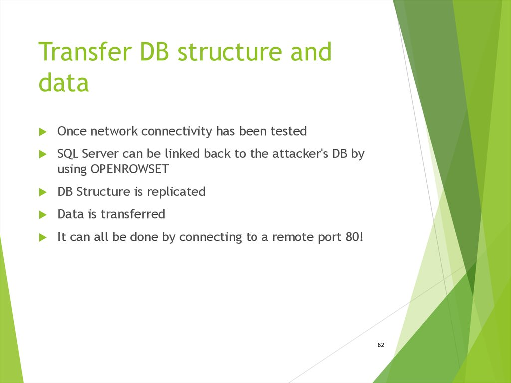 Transfer DB structure and data
