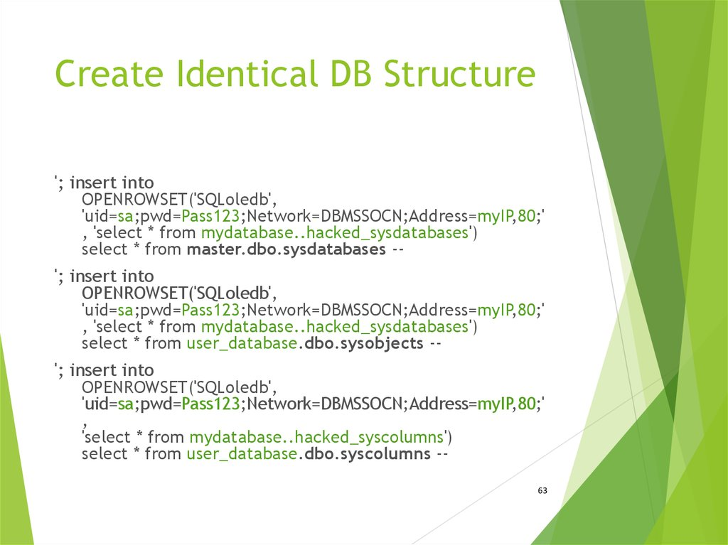 Create Identical DB Structure