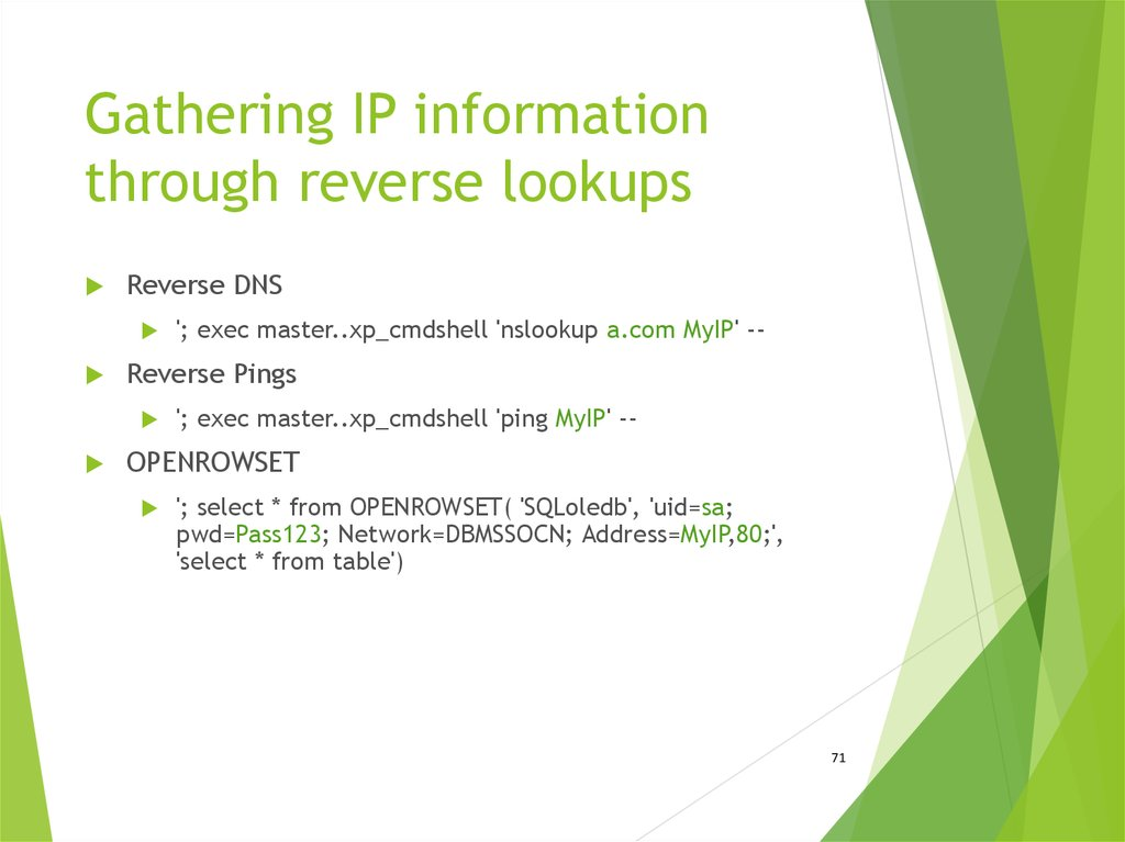 Gathering IP information through reverse lookups