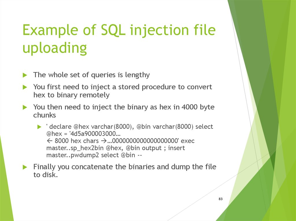 Example of SQL injection file uploading