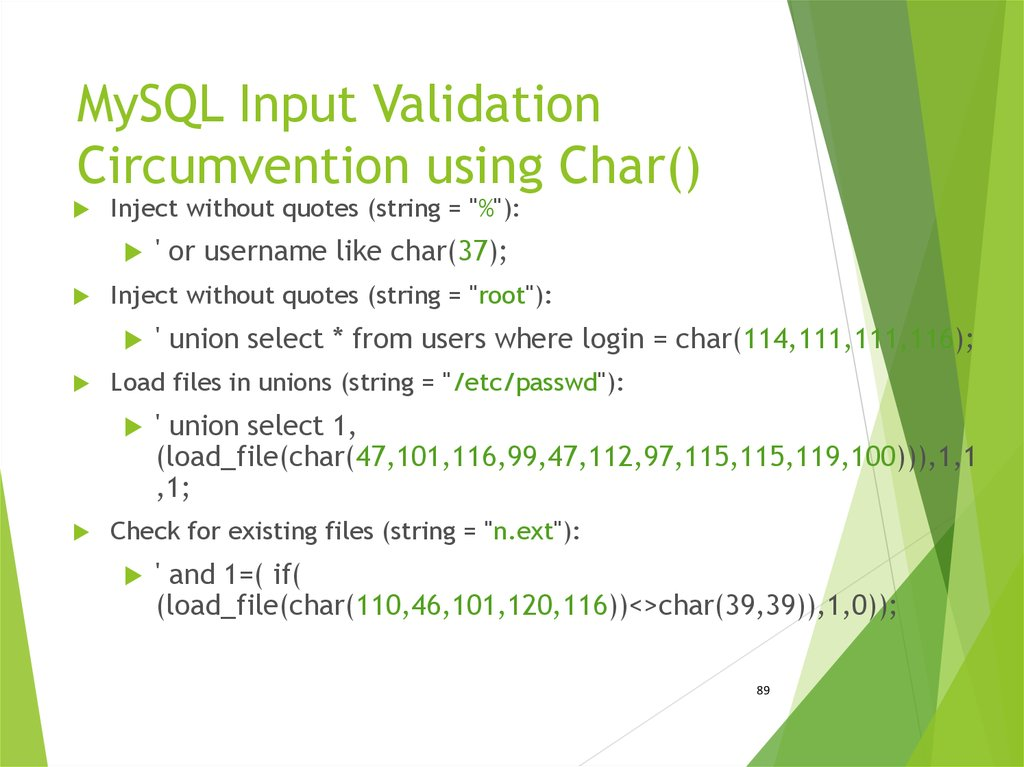 MySQL Input Validation Circumvention using Char()