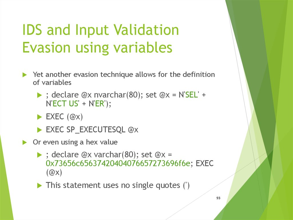 IDS and Input Validation Evasion using variables