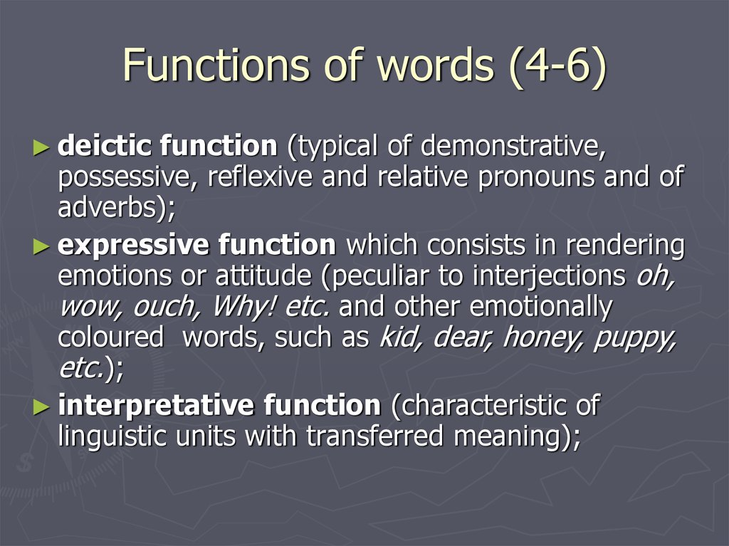 Functions of words (4-6)