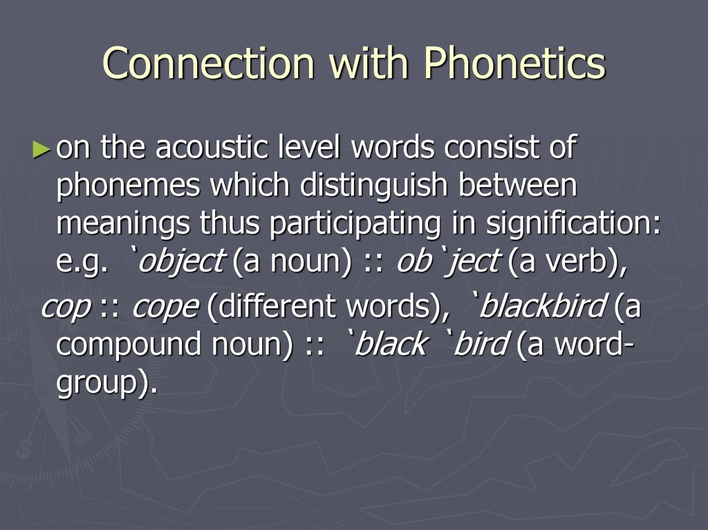 Connection with Phonetics