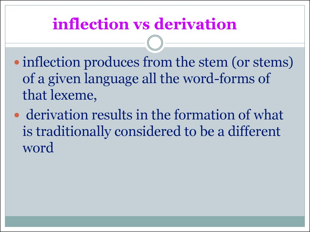 inflection vs derivation