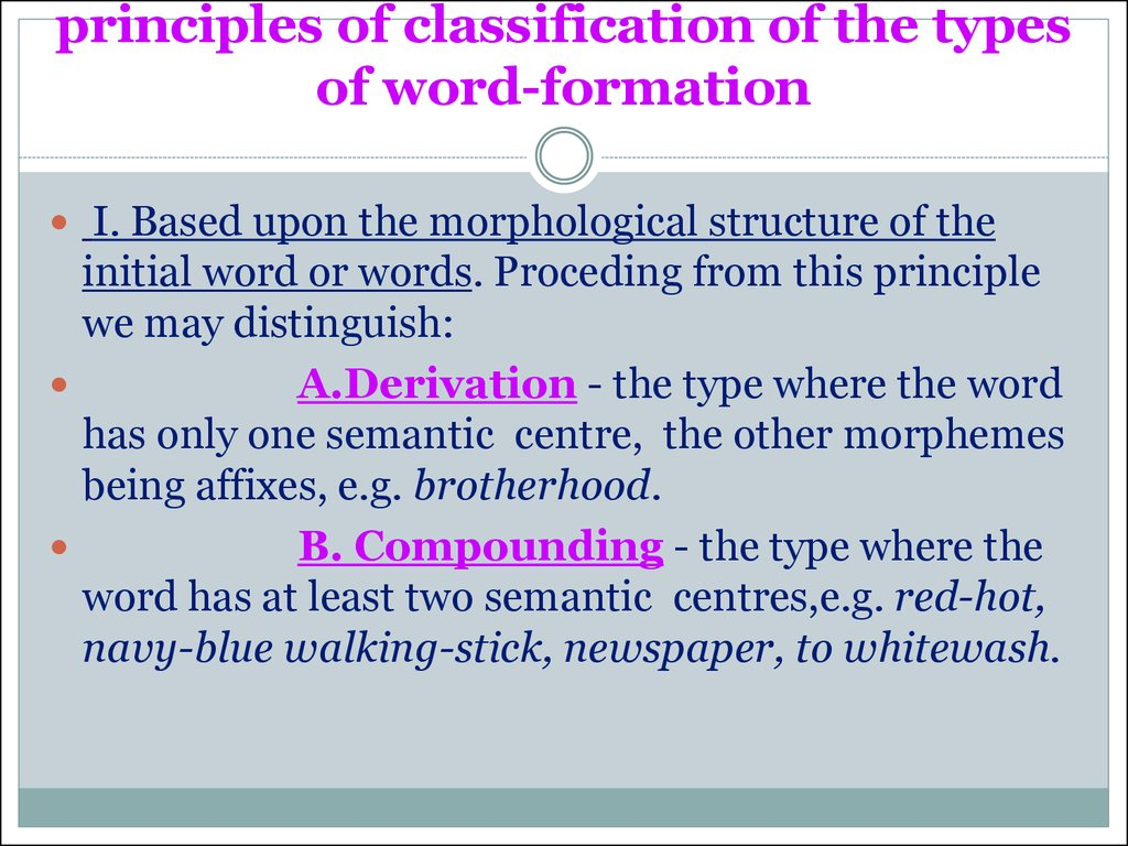 principles of classification of the types of word-formation
