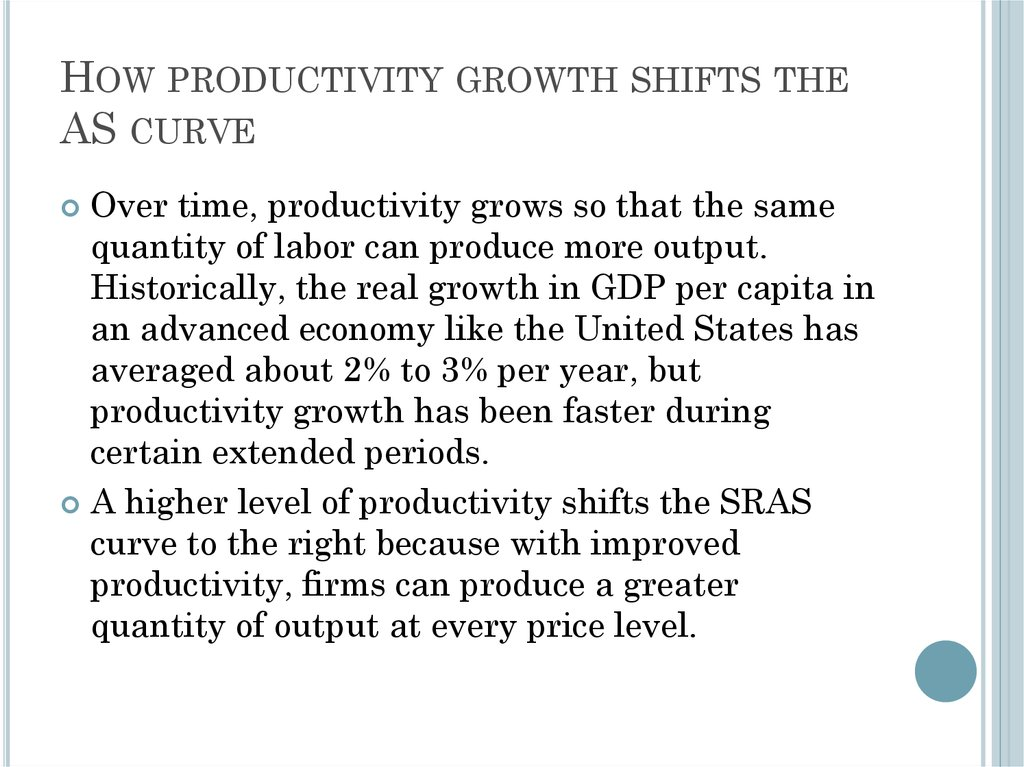 How productivity growth shifts the AS curve