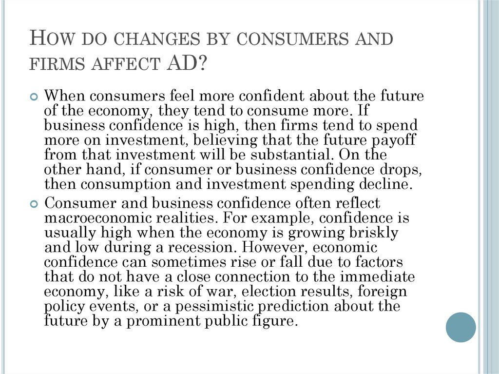 How do changes by consumers and firms affect AD?
