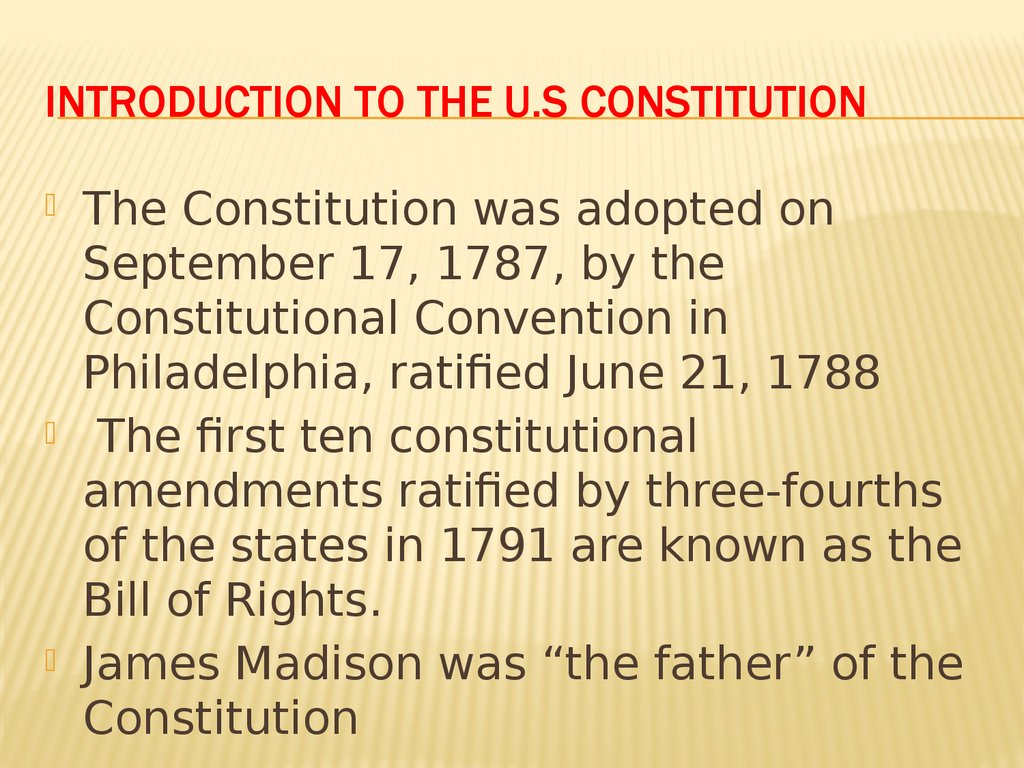 Introduction to the U.s constitution