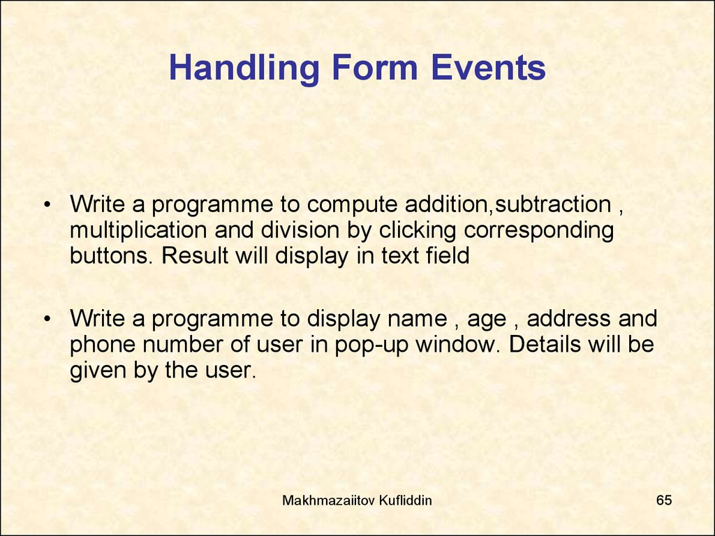 Handling Form Events