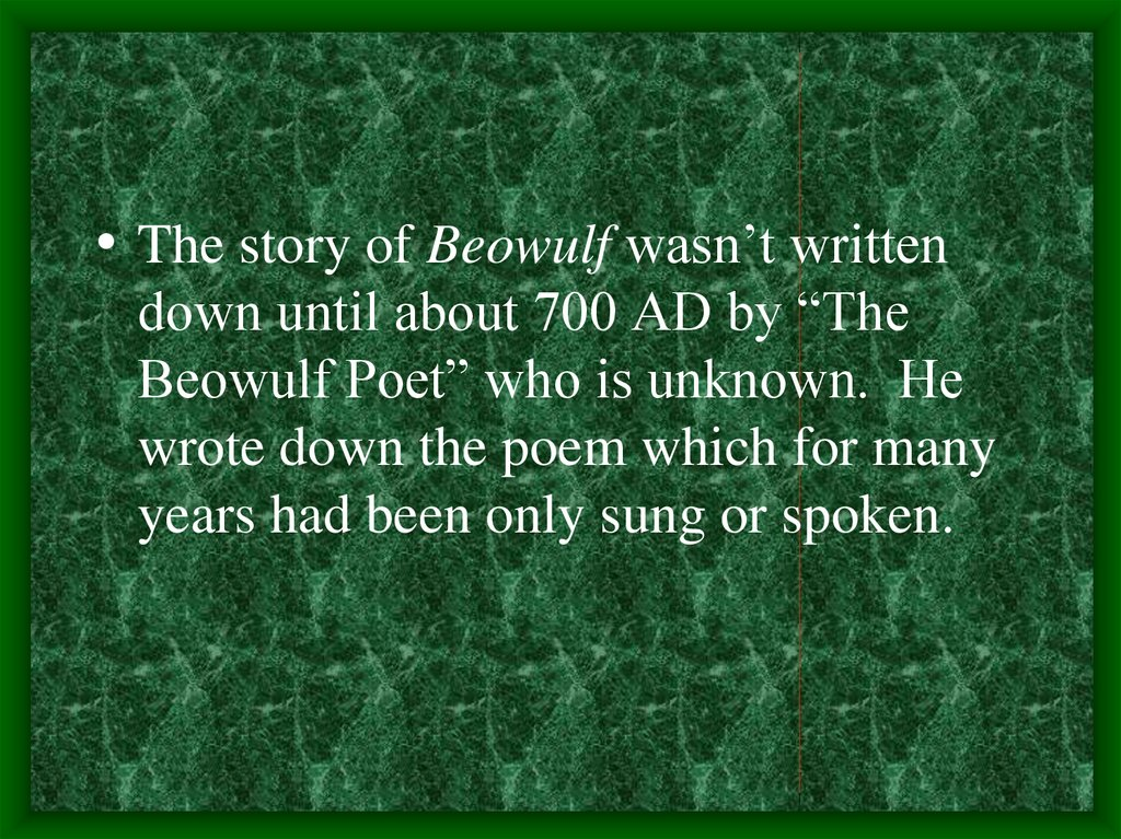 Beowulf Anglo Saxon Period Online Presentation