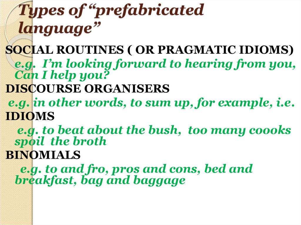 "Types of ""prefabricated language"""