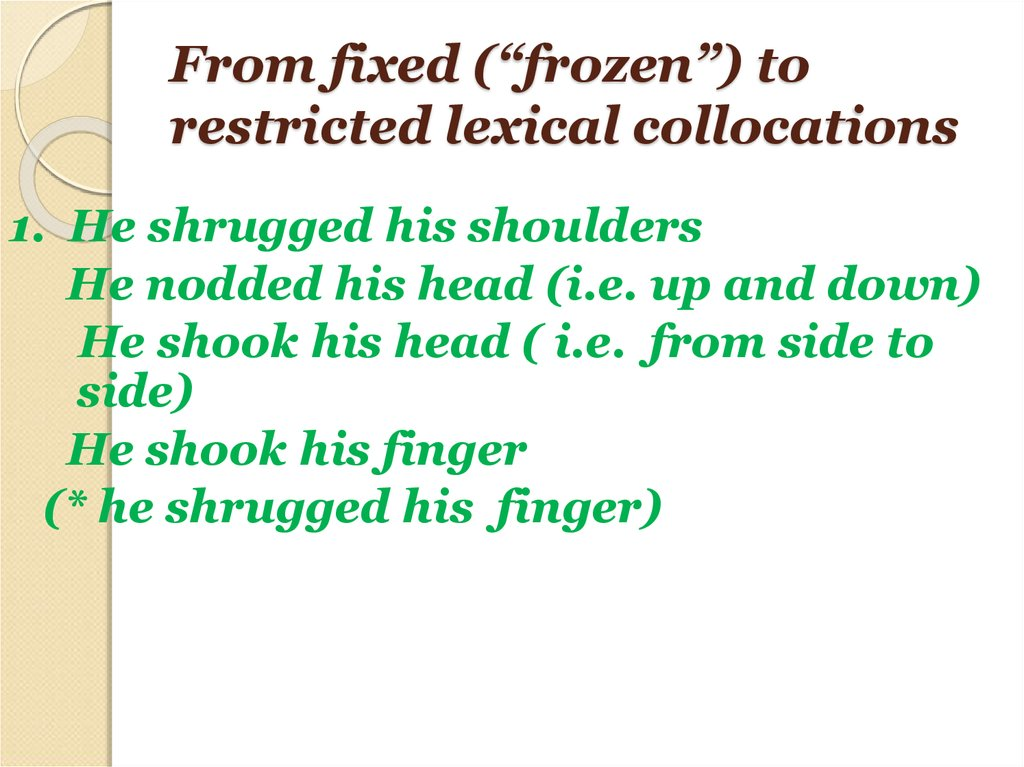 "From fixed (""frozen"") to restricted lexical collocations"