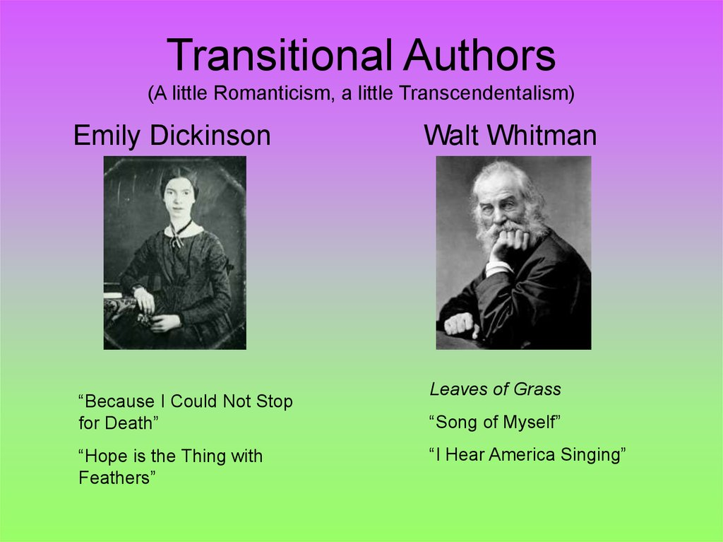 Transitional Authors (A little Romanticism, a little Transcendentalism)