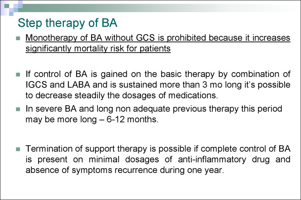 Step therapy of BA