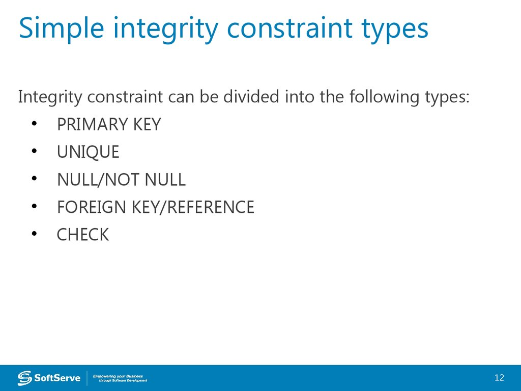 Simple integrity constraint types