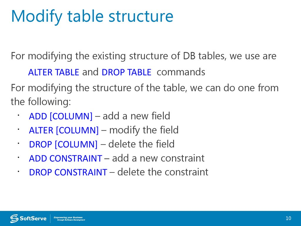 Modify table structure