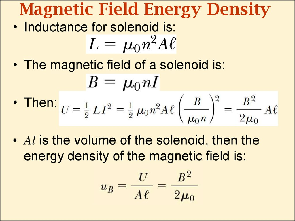 Magnetic Field Energy Density