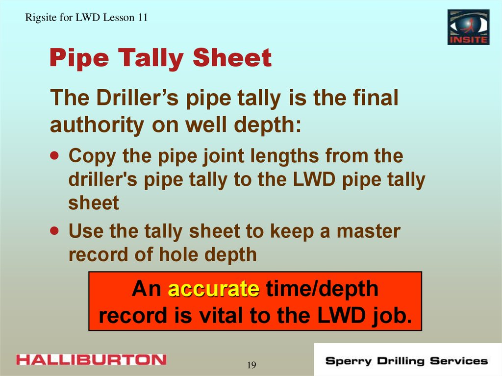 Pipe Tally Sheet