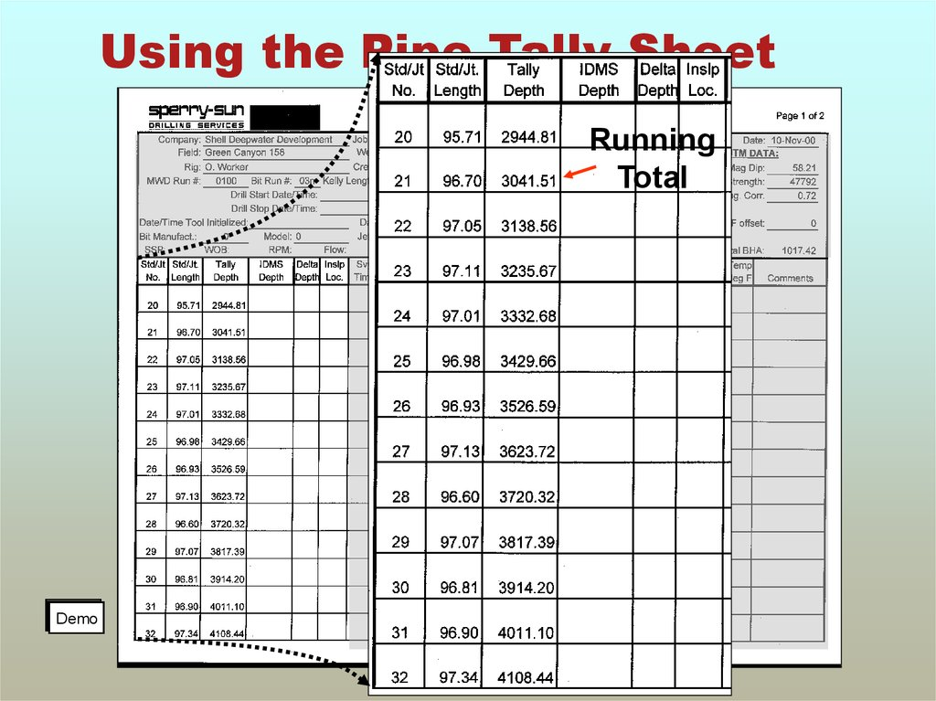 Using the Pipe Tally Sheet